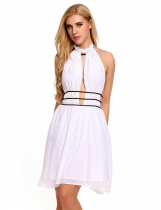 White Sexy Halter Keyhole Sleeveless Backless Bandage Asymmetry Dress