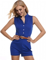 Blue Wrap Buckle Up Short Pants Solid Slim Romper With Belt