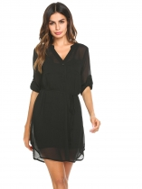 Black V-Neck Roll Up Long Sleeve Solid Casual Shirt Dress With Belt