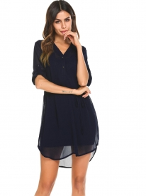 d1bd8f92d5 Dark blue V-Neck Roll Up Long Sleeve Solid Casual Shirt Dress With Belt