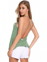 Pale Green Backless Sleeveless V Neck Loose Solid Pullover Tank Top