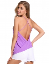 Purple Backless Sleeveless V Neck Loose Solid Pullover Tank Top