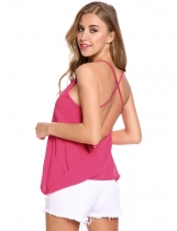 Rose red Backless Sleeveless V Neck Loose Solid Pullover Tank Top