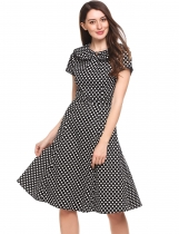 Black Vintage Styles Doll Collar Cap Sleeve Dot A-Line Pleated Casual Dress