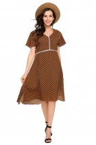 Brown V-Neck Short Sleeve Dot Patchwork Dress