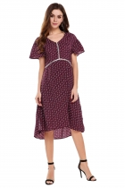 Wine red V-Neck Short Sleeve Dot Patchwork Dress