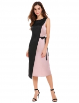 Rosa Women Fashion O-Neck Sleeveless Contrast Color Loose Dress