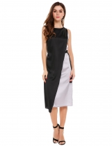 Silver O-Neck Sleeveless Contrast Color Loose Sheath Dress