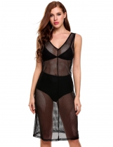 Black V-Neck Sleeveless Net Hollow Out See-through Elastic Cover Up Dress