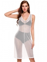 White V-Neck Sleeveless Net Hollow Out See-through Elastic Cover Up Dress