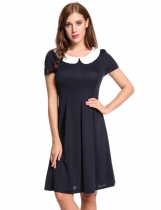 Blue Short Sleeve Contrast Color Doll Collar Vintage Style A-Line Casual Dress