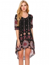 Black Short Sleeve Floral Print Asymmetrical Dress