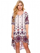 White Short Sleeve Floral Print Asymmetrical Dress