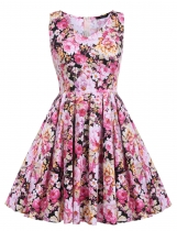 Yellow Floral Print Vintage Swing Tea Dress