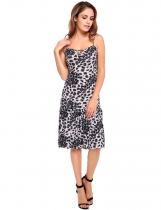Gray Mulheres sem mangas Strappy Keyhole Leopardo Ruffled Dress