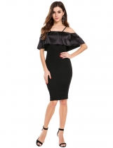Black Spaghetti Strap Ruffle Bodycon Mini Dress