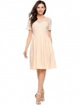 Beige O-Neck Short Sleeve Lace Patchwork Pleated Solid Dress