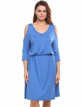 Blue Cold Shoulder Solid Elastic Casual Dress
