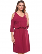 Dark red Cold Shoulder Solid Elastic Casual Dress