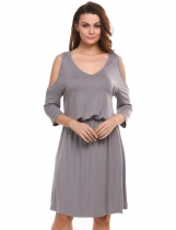 Gray Cold Shoulder Solid Elastic Casual Dress
