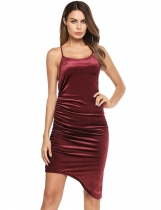 Dark red Spaghetti Strap Solid Draped Asymmetrical Hem Bodycon Dress