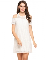 Blanc Femmes Casual O-Neck Manches courtes Off Shoulder Hollow Out Loose Dress