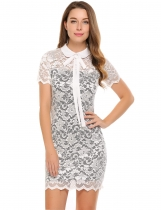 White Short Sleeve Lace Bow Neck Pencil Dress