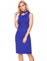 Blue Femmes Sexy Solid Back Split Elastic Shining Color Package Hip Dress