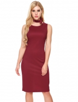 Rojo de vino Mujeres Sexy Solid Back Split Elástico Brillante Color Package Hip Dress