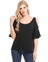 Black Boat Neck Flare Sleeve Cold Shoulder Elastic T-Shirt
