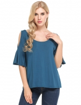 Blue Boat Neck Flare Sleeve Cold Shoulder Elastic T-Shirt