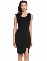 Black Women's V-Neck Sleeveless Split Front Cocktail Bodycon Tank Dress