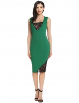 Green Sleeveless Lace Patchwork Cocktail Bodycon Party Dress