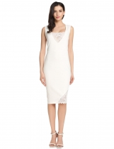 White Sleeveless Lace Patchwork Cocktail Bodycon Party Dress
