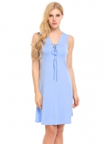 Baby Blue Lace Up V-Neck Sleeveless Solid A-Line Dress