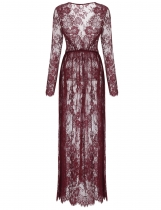 Wine red V-Neck Long Sleeve Lace See-through Beach Cover Up Dress