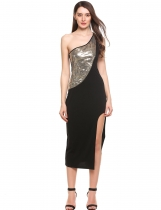 Gold Oblique Collar Sleeveless One Shoulder Front Split Hem Sequins Patchwork Elastic Maxi Dress