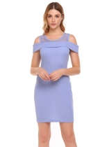 Blue Cold Shoulder Patchwork Mini Package Hip Pencil Dress