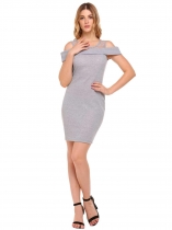 Grey Cold Shoulder Patchwork Mini Package Hip Pencil Dress