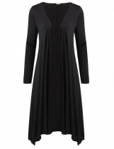 Black Long Sleeve Asymmetric Solid Drape Open Long Cardigan