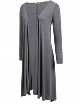 Dark gray Long Sleeve Asymmetric Solid Drape Open Long Cardigan