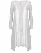 White Long Sleeve Asymmetric Solid Drape Open Long Cardigan