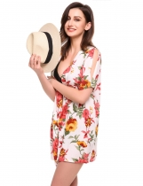 White Split Short Sleeve Open Front Floral Print Beach Smock