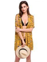 Yellow Split Short Sleeve Open Front Floral Print Beach Smock