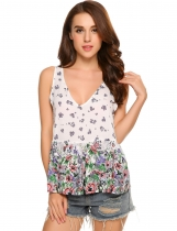 White Floral Sleeveless Plunge Neck Pockets Ruffled Tank Top