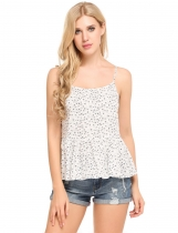 White Sleeveless Square Neck Floral Print Loose Pullover Camisole