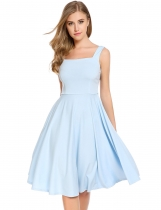 Skyblue Square Collar Sleeveless Solid Backless Bow A-Line Pleated Hem Dress