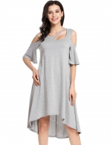 Grey Short Sleeve Solid O Neck Pullover Cold Shoulder Asymmetrical Dress