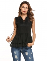 Black Sleeveless V Neck Peplum Lace Loose Chiffon Blouse