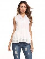 White Sleeveless V Neck Peplum Lace Loose Chiffon Blouse